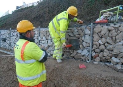 Carbis Bay Hotel - Earth anchors loadlocked into gabion wall