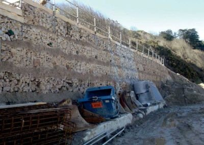 Carbis Bay Hotel - Row of gabions forming a retaining wall secured with Platipus Earth Anchors