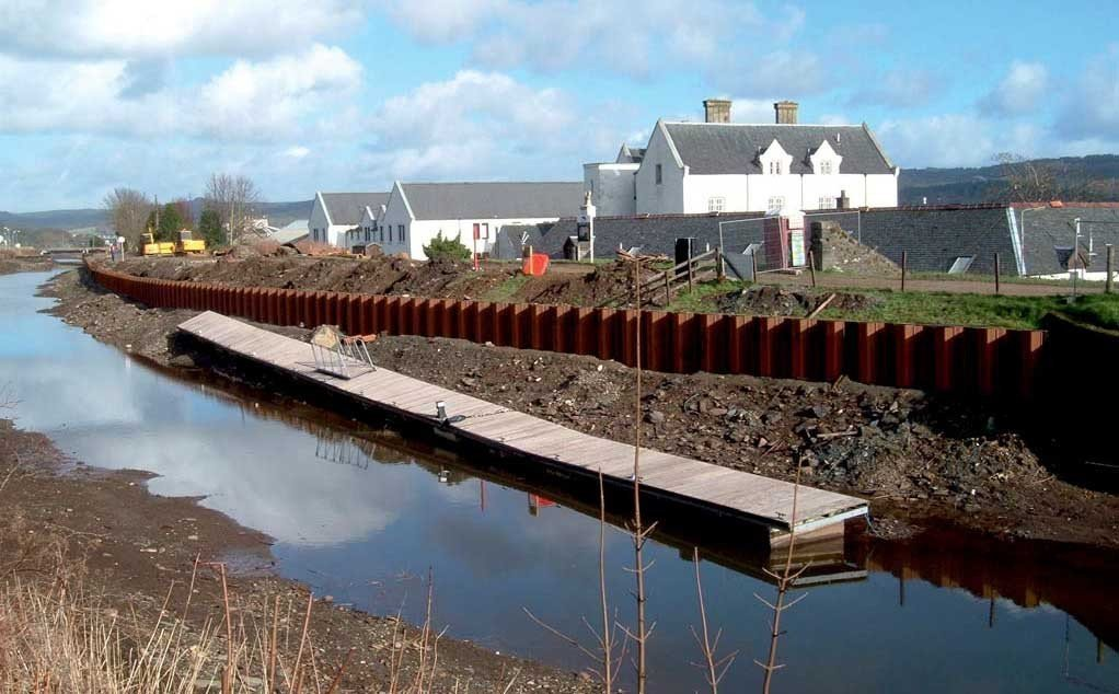 Crinan Canal, Argyle and Bute - Sheet piling secured with Platipus earth anchors