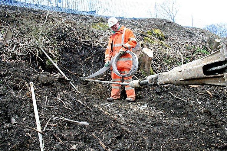 Burgess Hill Embankment Strengthening - Driving Plati-drains into ground