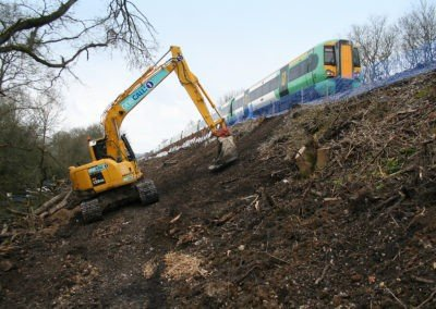 Burgess Hill Embankment Strengthening - Excavating slope next to rail track