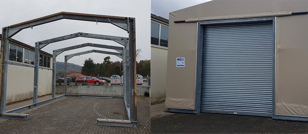 Rubb Buildings Ltd structure erected on a US Army Base in Germany using Platipus Anchors