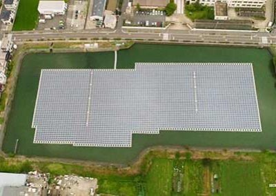 Aria view of the Ootsuda Ike Floating Solar Park in Kansai, Japan