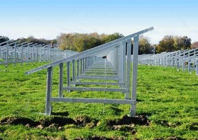 Rows to solar panel support frames at the Redbridge Road solar park