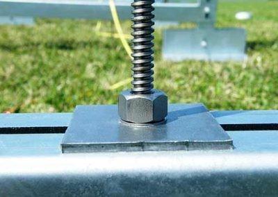 Loadplate & loadnut after instasllation on solar panel support frame at Redbridge Road solar park