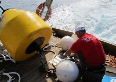 Platipus Anchor being attatched to a mooring point using a heavy duty chain