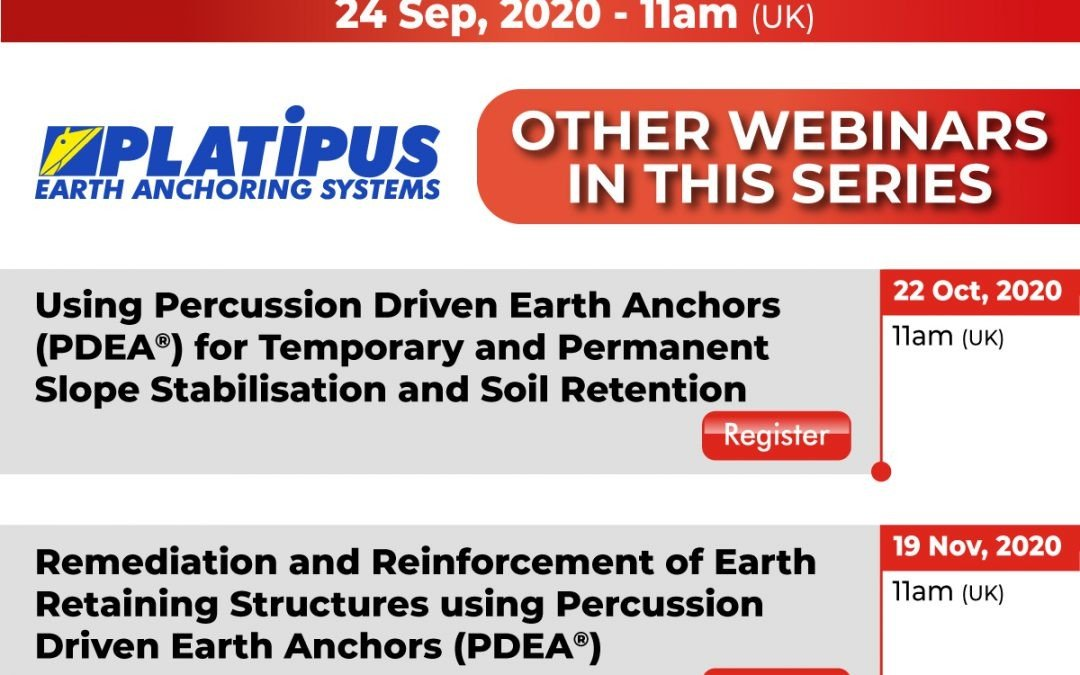 Join us for our next free live webinar covering Geotechnical Design using Percussion Driven Earth Anchors (PDEA®)