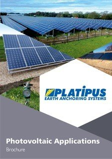 Platipus Anchors Brochure Cover for Photovoltaic Applications