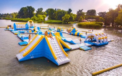 Iinflatable water park in Hungary